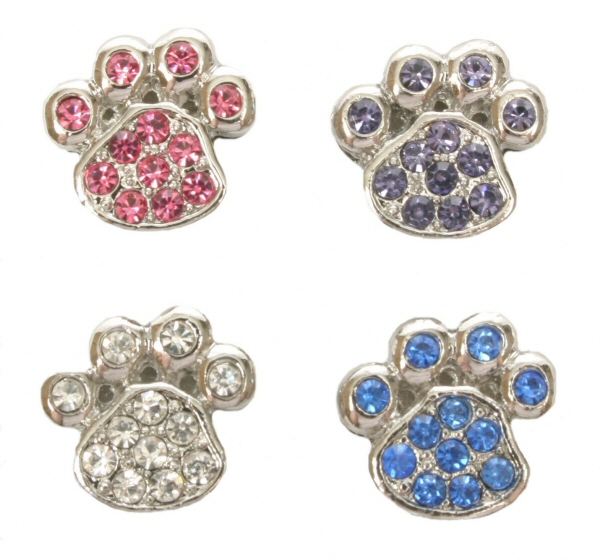 10mm Rhinestone Slider Charm Paw Pink Purple Clear Blue Red