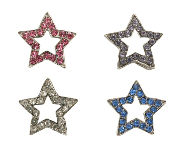 10mm Rhinestone Slider Star charm - Clear, Pink or Blue