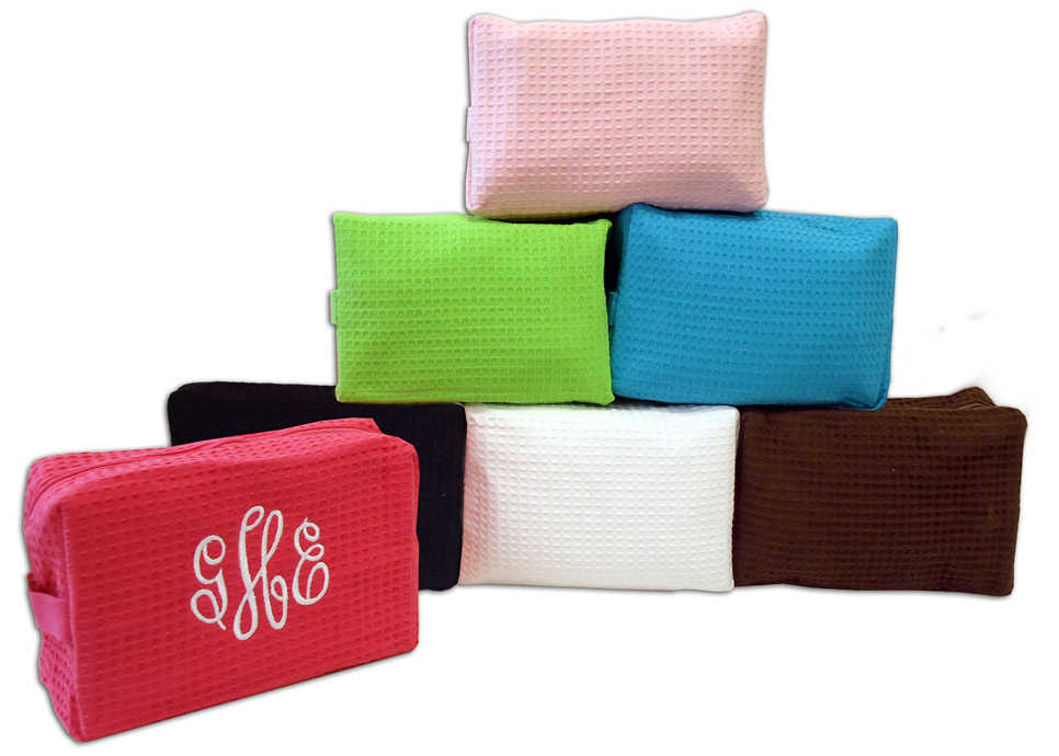 personalized monogrammed or name single zipper cosmetic makeup bag waffle weave